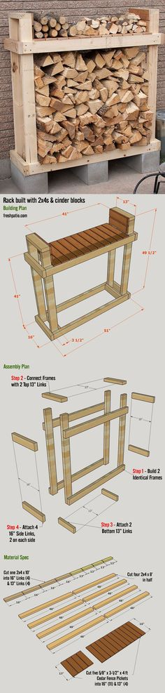 Free Firewood Rack Plan - build it for $42 (including lumber, Cinder blocks and screws), with a top shelf. #ShedPlans12X14