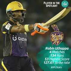 Our Player in the Spotlight for Kolkata Knight Riders is Robin Uthappa! The fiery opener has been of great support to his skipper and has formed formidable opening partnerships with Gautam Gambhir. The team will be counting on him to fire tonight! #IPL #cricket #RPSvKKR