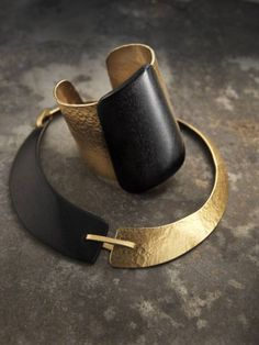 Necklace & Cuff | Delphine Nardin. 'Zanzibar'  Ebony and gold plate on brass