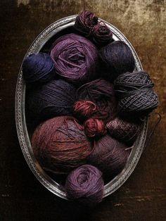 birdcagewalk:    Bee Keeper's Quilt yarn stash: all the purples  by chronographia