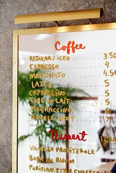 All Time Best Unique Ideas: But First Coffee Heart coffee plant house.Coffee Morning Rain coffee pictures recipes for. Menu Board Design, Cafe Menu Design, Cafe Interior Design, Menu Restaurant, Modern Restaurant, Restaurant Interior Design, Coffee Menu, Coffee Cafe, Coffee Barista