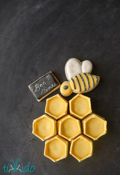 Bee Mine collection of itty bitty sugar cookies.  Hexagon honeycomb, a bumblebee, and a tiny chalkboard sign.