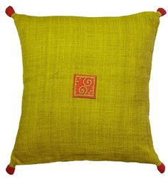 Ethnic Hemp Cushion Cover - Red On Citrus - $25.50 - These hemp cushions are produced by ethnic minority Hmong women in northern Vietnam. In the past all Hmong clothing was made from hemp and it is still considered an important part of Hmong culture.  Craft Link are working with a number of groups to preserve traditional techniques and generate income by incorporating these techniques into high quality products.  40cm x 40cm