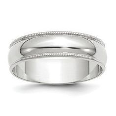 6MM Half Round Milgrain Edge Lightweight Wedding Band In 14K White Gold Gemologica.com offers a large selection of 10K and 14K yellow gold bands, and 10K and 14K white gold bands for men and women. We have styles including comfort fit, half round edges, flat edges, flat comfort fit, flat step down edge, half round with milgrain, and beveled edge. Our complete collection of gold wedding rings: www.gemologica.com/mens-gold-wedding-bands-c-28_46_316_320.html