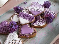 Lilac color | Cookie Connection Mother's Day Cookies, Fancy Cookies, Heart Cookies, Iced Cookies, Cupcake Cookies, Sugar Cookies, Cupcakes, Valentines Day Cakes, Valentine Cookies