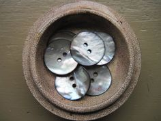 gray mother of pearl abalone buttons set of 6 by Earthgatherings on Etsy.