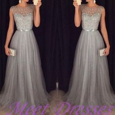 2016 new tulle grey prom dresses modest evening dress with sparkle beads long gray formal gown for senoir teens