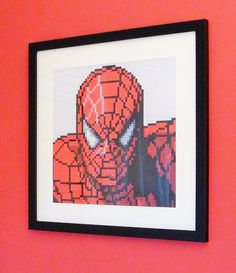 "Spider Man print of original Lego® mosaic (12"" square) by OxfordBrickArt on Etsy"