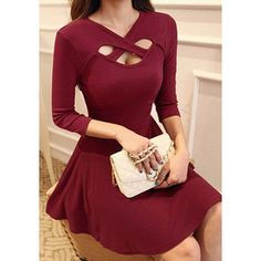 Red Keyhole Dress 3/4 sleeves