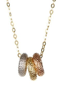 14K Gold Tri-Tone Free Floating Triple Ring Necklace by Royal Chain Group on @HauteLook