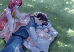 Akatsuki no Yona / Yona of the dawn anime and manga || Hak and Yona OMG THIS IS SO CUTE T-T this needs to happen. They would make an awesome family fanart by K_ponbon on Twitter