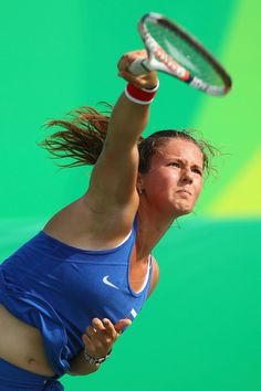 Daria Kasatkina Photos Photos - Daria Kasatkina of Russia hits during the women's third round singles match against Sara Errani of Italy on Day 4 of the Rio 2016 Olympic Games at the Olympic Tennis Centre on August 9, 2016 in Rio de Janeiro, Brazil. - Tennis - Olympics: Day 4