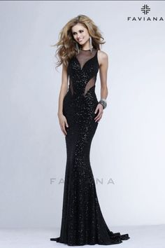 Long sequined black prom dress ...