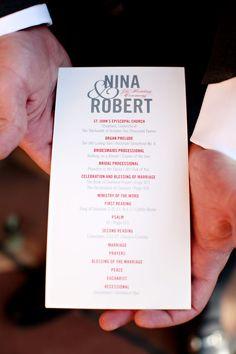 Wedding program for a #modernwedding. Photo by Jen Lynne Photography