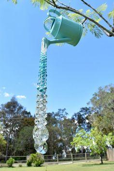 Watering can crystal Suncatcher, Garden display, Beaded Suncatcher, Sun catcher – Diy Garden
