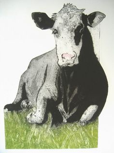 """""""Will It Rain?"""" collagraph with luggage tags by Sue Brown. http://suebrownprintmaker.blogspot.co.uk/ Tags: Cow, Lying down, Grass"""