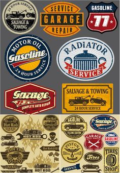 Grunge automotive labels and signs vector