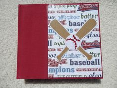 Play Ball! This is a 6x6 inch chipboard scrapbook album that would be perfect for pictures of your favorite baseball player or a day at the