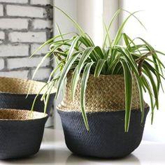 Seagrass Belly Basket Dipped Black Grey Storage Holder Plant Pot Bag Home Decor Flower Basket, Flower Pots, Flowers, Basket Weaving, Hand Weaving, Belly Basket, Bag Organization, Storage Baskets, Potted Plants