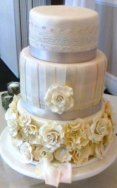 Three Tier Antique Fondant Wedding Cake with Sugarpaste Vertical Strip, Floral and Edible Lace Decor