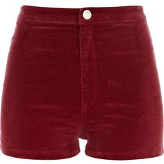 River Island Red corduroy high waisted shorts ($14) ❤ liked on Polyvore featuring shorts, bottoms, short, pants, sale, high-rise shorts, red short shorts, highwaist shorts, high waisted zipper shorts and high-waisted shorts