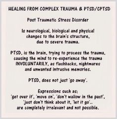This is probably THE best post Ive seen! It simply sums up a very painful and frustrating truth! I so wish people would take the time to truly understand PTSD - and just as importantly - help bring awareness to and prevent Sexual Abuse! Ptsd Awareness, Mental Health Awareness, Stress Disorders, Anxiety Disorder, Infp, Arthritis, Pcos, Ptsd Symptoms, Depression Symptoms