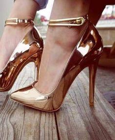 Trendy High Heels For Ladies : Metallic Ankle Strap Pumps… Ankle Strap Heels, Ankle Straps, Strappy Heels, Stiletto Heels, Shoes Heels, Gold Heels, Ankle Shoes, Prom Heels, Wedding Heels