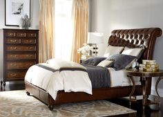 Haven Leather Bed with Low Footboard
