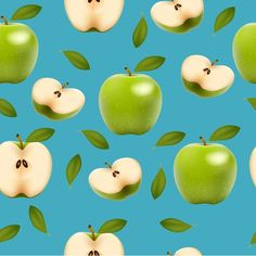 Green apple with slice vector seamless pattern - https://www.welovesolo.com/green-apple-with-slice-vector-seamless-pattern/?utm_source=PN&utm_medium=welovesolo59%40gmail.com&utm_campaign=SNAP%2Bfrom%2BWeLoveSoLo