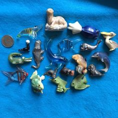 Lot of Miniatures Sea Water Animals ~ Fish Whales Otter Alligator Shrimp