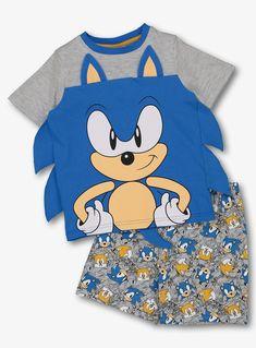 Sonic The Hedgehog Lets Roll Short Gamer Cotton PJs Boys Blue