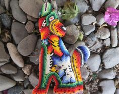 Mexican jewelry, huichol necklaces, huichol bracelets by ArtesaniaHUICHOL The Secret World, Mexican Jewelry, Jewelry Show, Craft Shop, Basic Colors, Geometric Shapes, Etsy Handmade, Handmade Gifts, Something To Do
