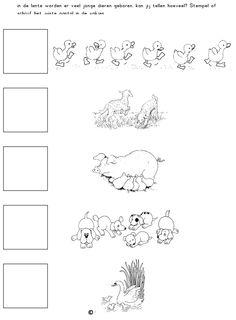 In de lente worden er veel jonge dieren geboren. Kan jij tellen hoeveel? Stempel of schrijf het juiste aantal in de vakjes. [Juf Sanne]