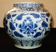ANTIQUE BIG CHINESE PORCELAIN B & W, JAR YUAN DYNASTY 14TH CENTURY- AN EXC NR. #China