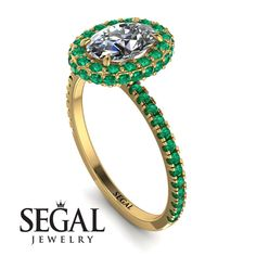 Oval Emerald Halo Hidden Diamonds Ring - Amy No. Oval Diamond, Gold Diamond Rings, Diamond Wedding Rings, Proposal Ring, Diamond Anniversary Rings, Halo Diamond Engagement Ring, Unique Rings, Emerald, Engagement Gifts