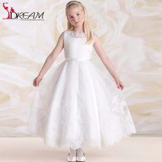 Lovely White Flower Girl Dresses for Weddings 2016 Cheap Tank Sleeveless Lace Tulle Girls First Communion Dress Kids Prom Gown