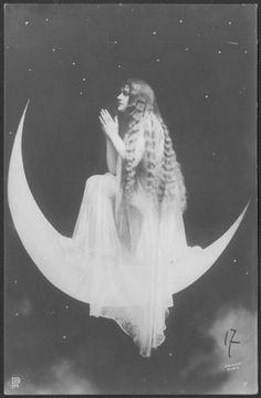 Moon priestess at prayer French postcard circa 1910