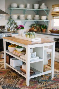 Rustic Kitchen Island, Kitchen Island With Seating, Boho Kitchen, Home Decor Kitchen, Kitchen Interior, Home Kitchens, Kitchen Islands, Butcher Block Kitchen Cart, Butcher Block Island