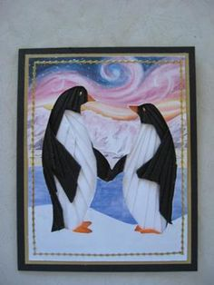 Penguins In Love Iris folding: I made these for something to do between Xmas and New Year!!!!  I hope you like them.   Christina says...  I certainly do Valerie they are lovely and I
