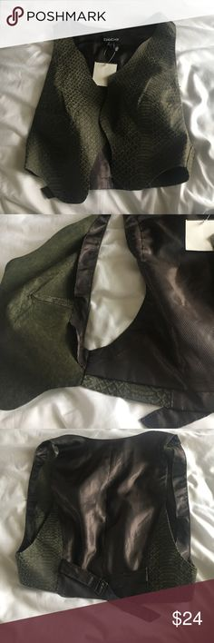 Raw Edge Leather Vest • $24/OBO Leather vest with satin back. BRAND NEW WITH TAG. bebe Jackets & Coats Vests