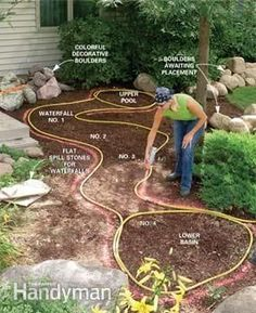 a Backyard Waterfall and Stream instructions on building backyard stream and waterfalls.instructions on building backyard stream and waterfalls. Backyard Stream, Backyard Water Feature, Ponds Backyard, Backyard Landscaping, Backyard Waterfalls, Landscaping Ideas, Garden Ponds, Water Falls Backyard, Outdoor Fish Ponds