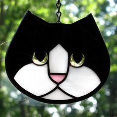 Stained Glass Black and White Cat Face Suncatcher with Golden Amber Eyes by LivingGlassArt, $40.00 USD