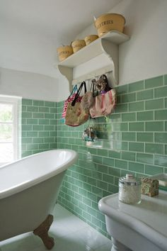 Love these tiles - so fresh ! Claw foot bath and green brick tile wall in the bathroom Green Subway Tile, Glass Subway Tile, Green Tiles, Glass Tiles, Brick Tile Wall, Kitchen Wall Tiles, Bathroom Renos, Bathroom Wall, Bathroom Green