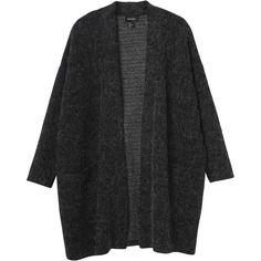 Monki Ofelia cardigan ($47) ❤ liked on Polyvore featuring tops, cardigans, outerwear, jackets, greyish black, long line cardigan, longline tops, kimono cardigan, pocket cardigan and cardigan kimono