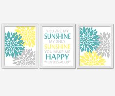 Yellow Gray Baby Nursery Wall Art You Are My Sunshine Flower Burst Teal Dahlia