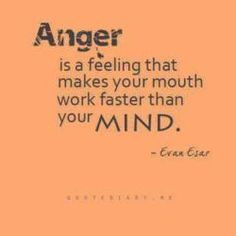 Anger is a feeling that makes your mouth work faster than your mind.