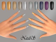 Nails: Metallic nails collections by NataliS from The Sims Resource