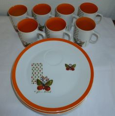 Unique Set of 7 BUTTERFLY TEA CUP/MUG SAUCER PLATE COFFEE LUNCH SNACK
