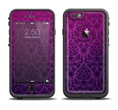 The Purple Delicate Foliage Pattern Apple iPhone 6/6s Plus LifeProof Fre Case Skin Set from DesignSkinz