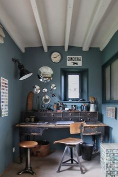 Beautiful Muted Bue Wall Color, Vintage Desk And Chair, Mirrors, White Beams Idea